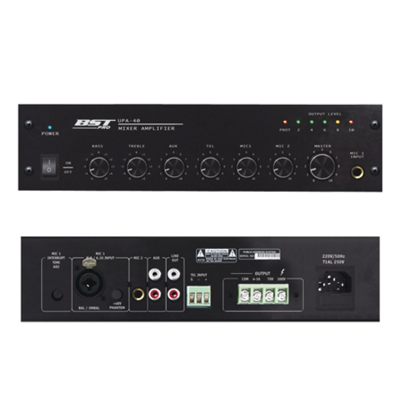 Mixer cu amplificator de linie, protectie multipla, prioritate pe microfon, 40 W 2021 shopu.ro