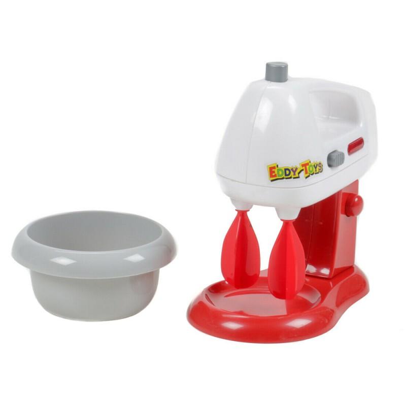 Jucarie mixer Eddy Toys, plastic, bol detasabil, 3 ani+, Rosu/Alb