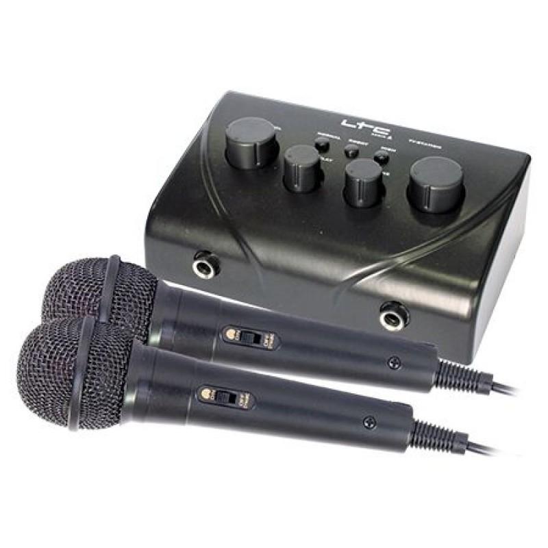 Mixer LTC pentru Karaoke, 2 microfoane cu fir, control ton si si ecou 2021 shopu.ro