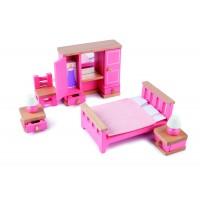 Mobilier dormitor pentru casuta papusi Tidlo, lemn, 4 piese, 3 ani+