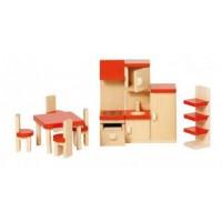 Mobilier bucatarie pentru casute papusi Goki, 9 piese, lemn, 3 ani+