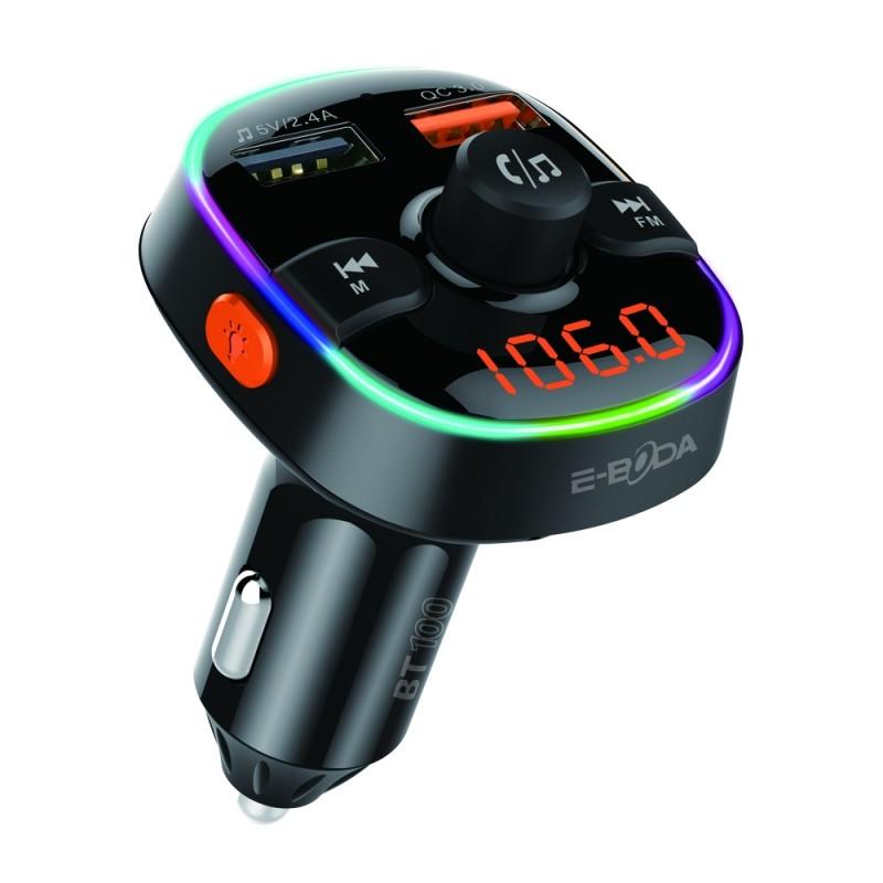 Modulator E-boda, Bluetooth 5.0, incarcare rapida, microfon incorporat, afisaj digital, 2 x USB, Micro SD, distanta semnal 10 m, Negru 2021 shopu.ro