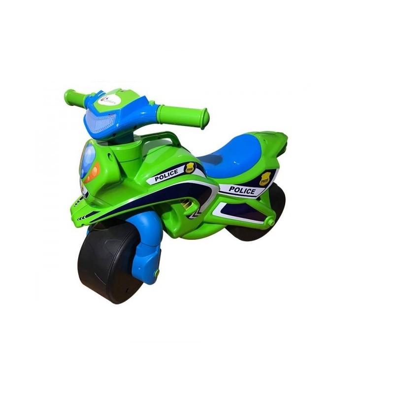 Motocicleta fara pedale Police Music MyKids, 67 x 51 cm, plastic, maxim 25 kg, 36 luni+, Verde/Albastru 2021 shopu.ro