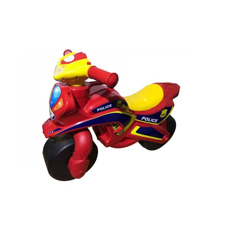Motocicleta fara pedale Police Music MyKids, 67 x 51 cm, plastic, maxim 25 kg, 36 luni+, Rosu/Galben 2021 shopu.ro