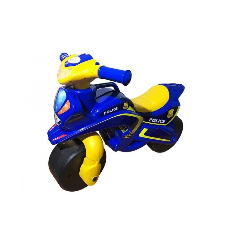 Motocicleta fara pedale Police Music MyKids, 67 x 51 cm, plastic, maxim 25 kg, 36 luni+, Albastru/Galben 2021 shopu.ro