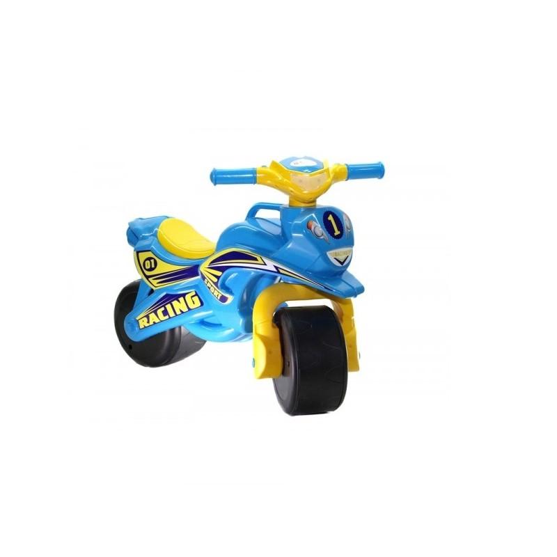 Motocicleta fara pedale Racing MyKids, 67 x 51 cm, plastic, maxim 25 kg, 36 luni+, Albastru/Galben 2021 shopu.ro