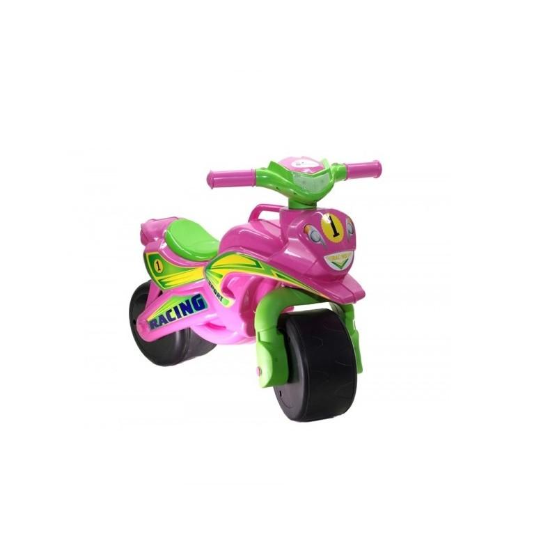 Motocicleta fara pedale Racing MyKids, 67 x 51 cm, plastic, maxim 25 kg, 36 luni+, Roz/Verde 2021 shopu.ro