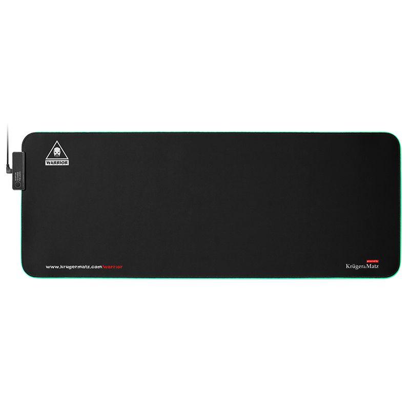 Mouse pad gaming Warrior Kruger & Matz, iluminare fundal 12 moduri, 7 culori, USB, cauciuc antiderapant 2021 shopu.ro