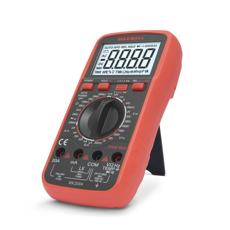 Multimetru digital Maxwelll, 195 x 95 x 40 mm, baterie 9V, test dioda, masurare inductie, True RMS, uz profesional 2021 shopu.ro