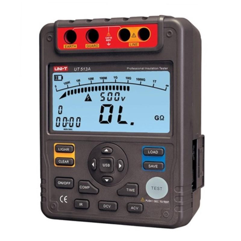 Multimetru digital rezistenta izolatie UT513A, 18 memorii, USB, masurarea indexului de polarizare, cabluri incluse, cutie transport shopu.ro