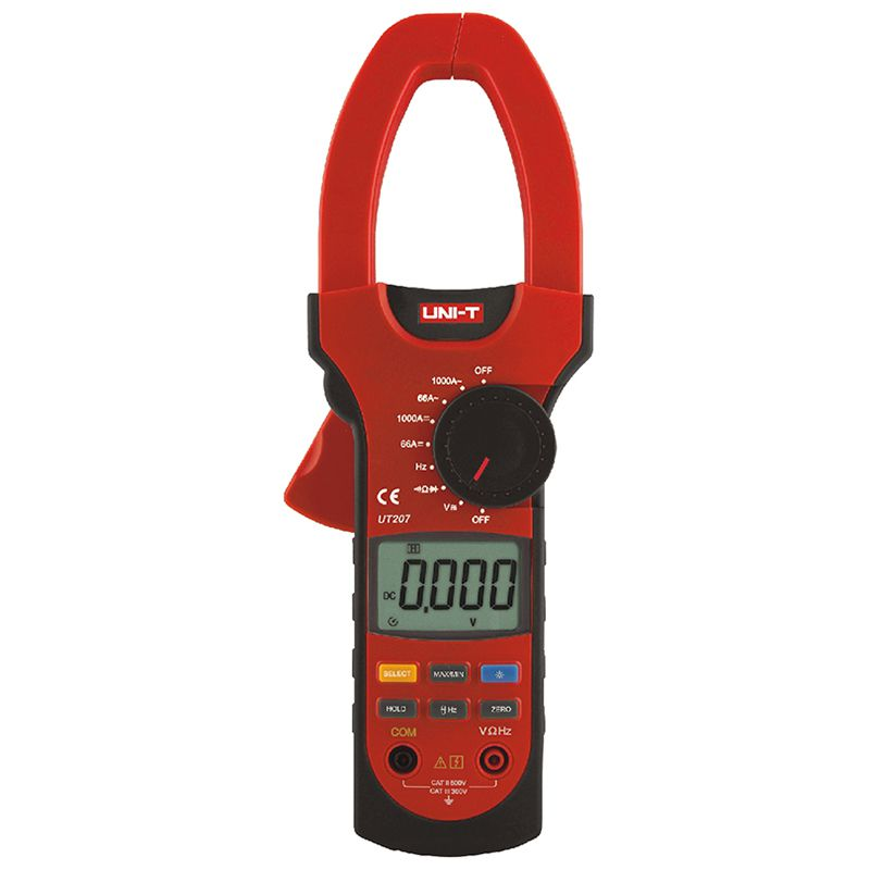 Multimetru tip clampmetru UT207, testare diode, continuitate, true RMS