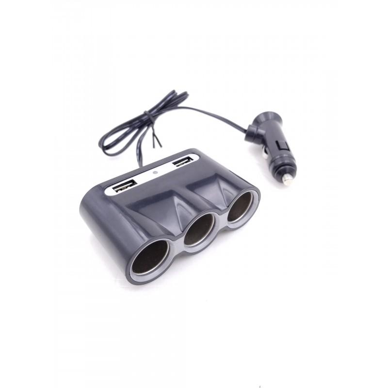 Priza bricheta auto Well, 60 W, 3 x priza, 2 x USB, 3 A 2021 shopu.ro