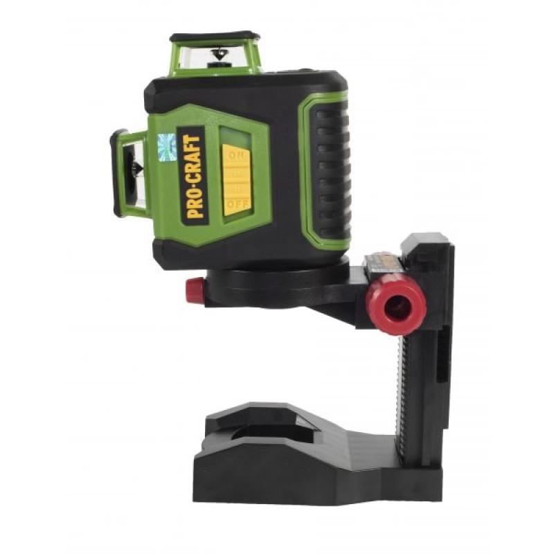 Nivela laser de perete Procraft LE-3G, 10 mW, unda 532 mm, 25 m, 360 grade, 12 linii, suport inclus shopu.ro