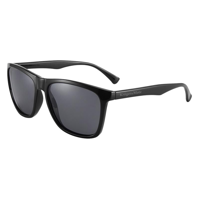 Ochelari de soare polarizati Kruger & Martz, 140 mm, filtru UV, plastic, suport tip cadru, microfibra inclusa, Negru 2021 shopu.ro