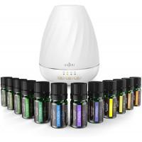 Pachet Difuzor aromaterapie 2 in 1 Anjou ADA003 + Set 12 sticlute Ulei Esential Naturale