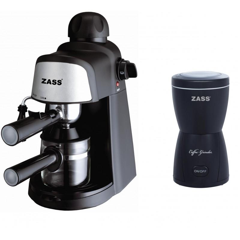 Pachet espressor cu rasnita Zass, 80 g, 800 W, Negru 2021 shopu.ro
