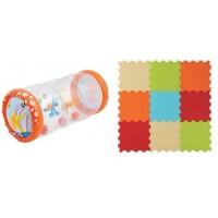 Set jucarie gonflabila cu bile Roller Baby Ludi, 45 x 20 x 20 cm, covoras din spuma inclus, EVA, 6 luni+, Multicolor