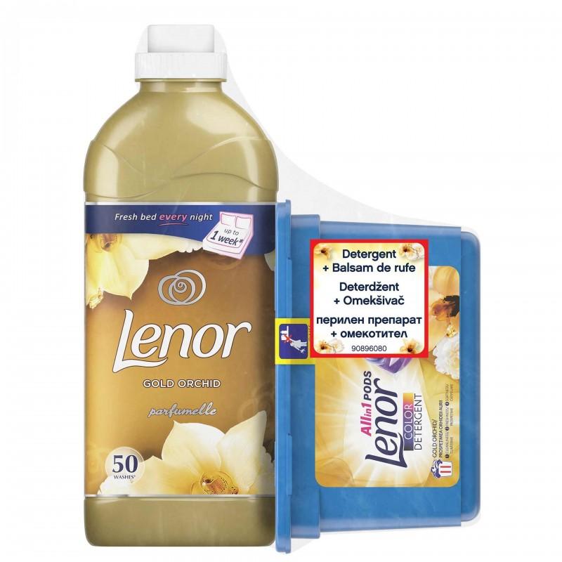 Pachet Detergent capsule Lenor Gold Orchid, 11 x 26 ml + Balsam de rufe Lenor Gold Orchid, 1.5 l 2021 shopu.ro