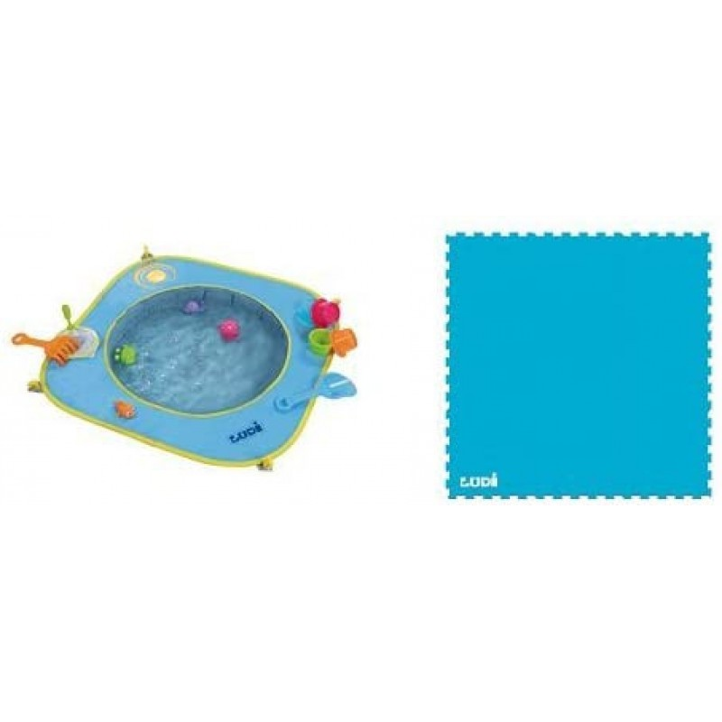 Minipiscina de plaja Ludi, 72 x 72 x 16 cm, poliester, covor inclus, 10 luni+, Albastru 2021 shopu.ro