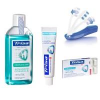 Pachet Trisa Travel, pasta de dinti 15 ml, periuta dinti Trisa travel plus, pastile dentare, apa de gura 100 ml