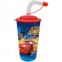 Pahar cu pai 3D Cars SunCity, 400 ml, Albastru