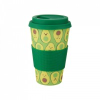 Pahar cu capac Happy Avocado Sass & Belle, 400 ml, bambus, Verde
