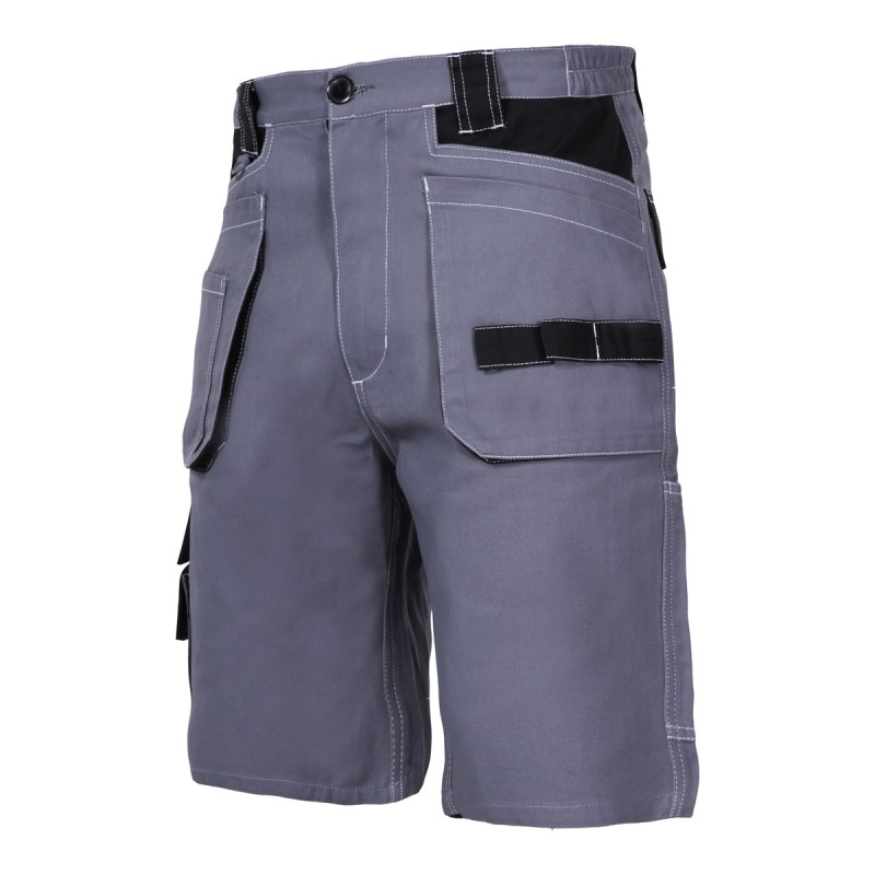 Pantaloni lucru scurti Lahti Pro, 100% bumbac, 10 buzunare, cusaturi triple, inel fixare cheie si ruleta, marime L 2021 shopu.ro