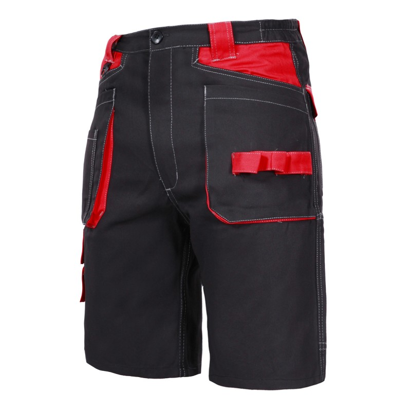 Pantaloni lucru scurti Lahti Pro, 100% bumbac, cusaturi triple, talie ajustabila, marime 3XL, Negru shopu.ro