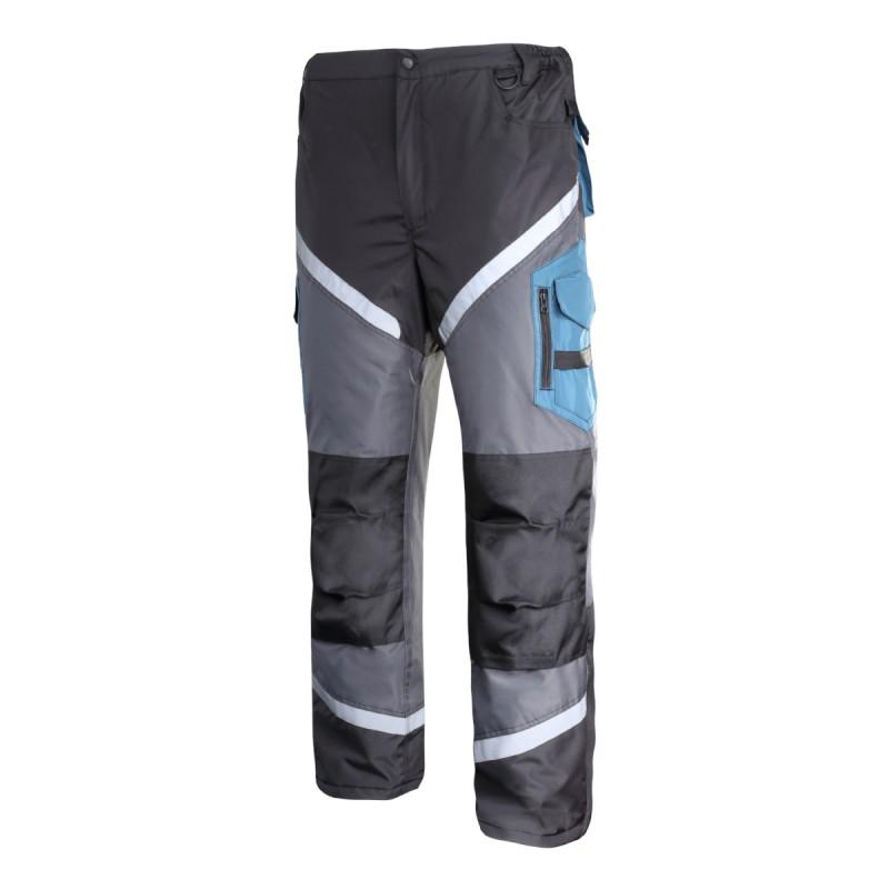 Pantaloni lucru captusiti reflectorizanti, impermeabili, 9 buzunare, cusaturi triple, marime M 2021 shopu.ro