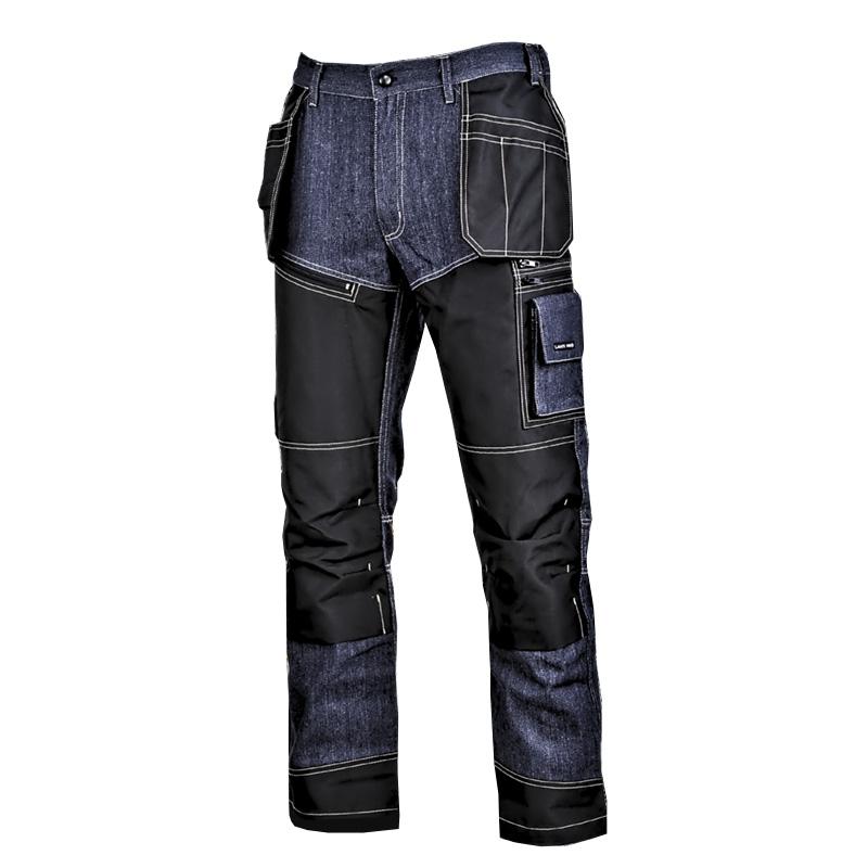 Pantaloni tip blugi cu intaritura Lahti Pro, marimea 3XL, 194 cm, bumbac/celofibra, poliester 300D, 16 buzunare, talie ajustabila, Albastru/Negru