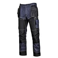 Pantaloni tip blugi cu intaritura Lahti Pro, marimea L, 176 cm, bumbac/celofibra, poliester 300D, 16 buzunare, talie ajustabila, Albastru/Negru