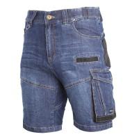 Pantaloni scurti Lahti Pro, marimea M, 170 cm, tip blugi, 12 buzunare, cusatura dubla, poliester 600 D, Albastru