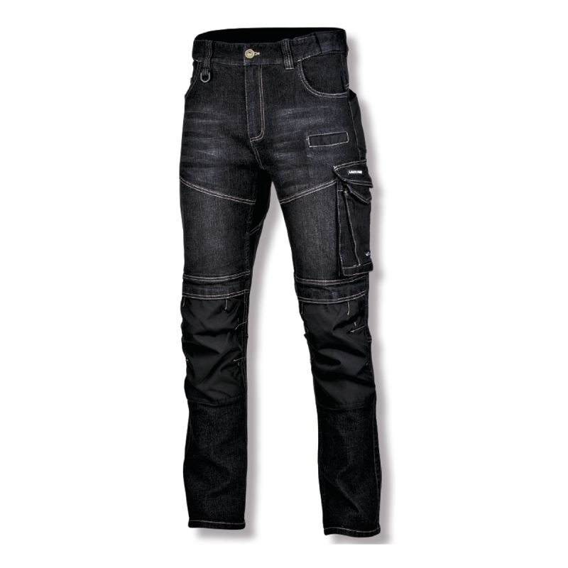 Pantaloni slim-fit cu elastic Lahti Pro, marimea L, 170-176 cm, tip blugi, Negru/Gri 2021 shopu.ro
