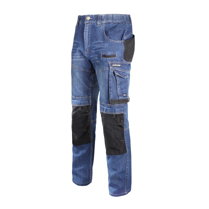 Pantaloni lucru tip blugi, slim-fit, elastici, 12 buzunare, cusaturi duble, marime L