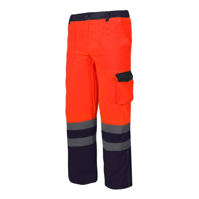 Pantaloni reflectorizanti, 6 buzunare, cusaturi duble, talie ajustabila, marime 3XL, Portocaliu shopu.ro