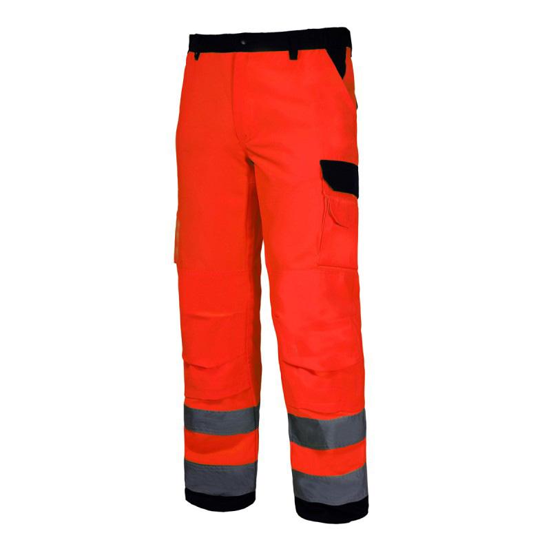 Pantaloni reflectorizanti premium, 10 buzunare, cusaturi duble, gaici pentru curea, marime M, Portocaliu