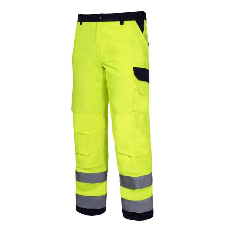 Pantaloni reflectorizanti premium, 10 buzunare, cusaturi duble, gaici pentru curea, marime S, Verde