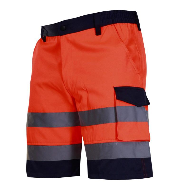 Pantaloni reflectorizanti scurti, 4 buzunare, cusaturi duble, talie ajustabila, marime L, Portocaliu