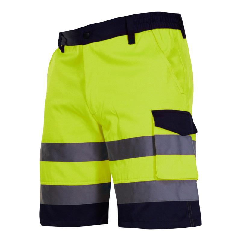 Pantaloni reflectorizanti scurti, 4 buzunare, cusaturi duble, talie ajustabila, marime 2XL, Verde shopu.ro