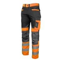 Pantaloni slim-fit reflectorizanti Lahti Pro, marimea L, 170-176 cm, bumbac/poliester, 270 g/m2, 8 buzunare, cusaturi triple, Portocaliu/Negru