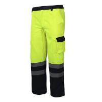 Pantaloni reflectorizanti, 6 buzunare, cusaturi duble, talie ajustabila, marime L, Verde