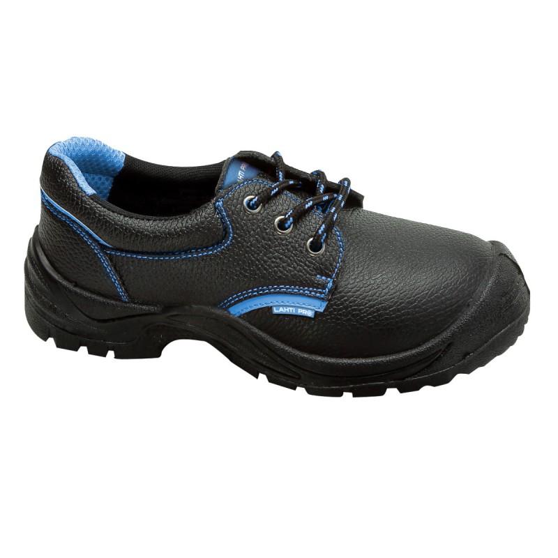Pantofi piele Lahti Pro, interior nuantat, marimea 40, negru/albastru 2021 shopu.ro