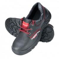 Pantofi piele Lahti Pro, marimea 38, talpa poliuretan, brant detasabil, bombeu metalic, Negru/Rosu