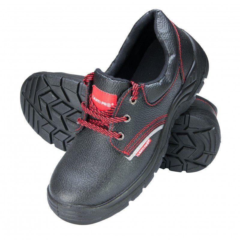 Pantofi piele Lahti Pro, marimea 38, talpa poliuretan, brant detasabil, bombeu metalic, Negru/Rosu 2021 shopu.ro
