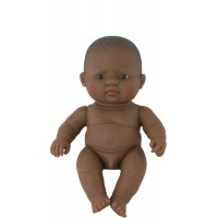Papusa baietel Miniland, 21 cm, vinil, 2 ani+