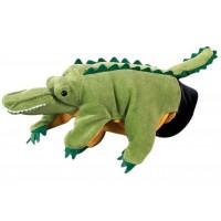 Papusa de mana Beleduc, material textil, model Crocodil