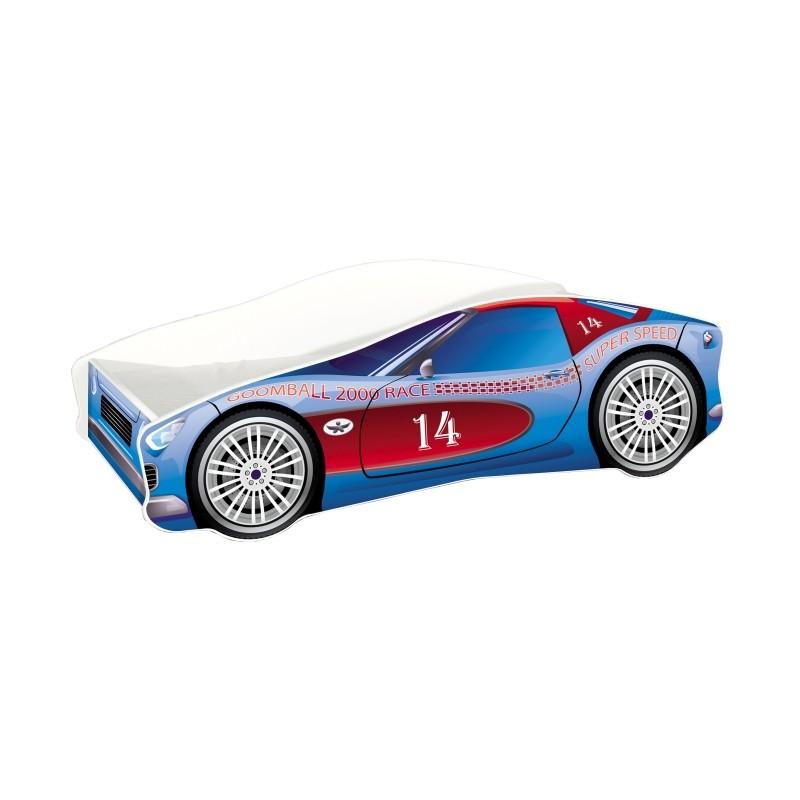 Pat copii Race Car MyKids, 160 x 80 cm, pal, maxim 90 kg, 3 ani+, Albastru 2021 shopu.ro