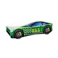 Pat copii Race Car MyKids, 160 x 80 cm, pal, maxim 90 kg, 3 ani+, Verde