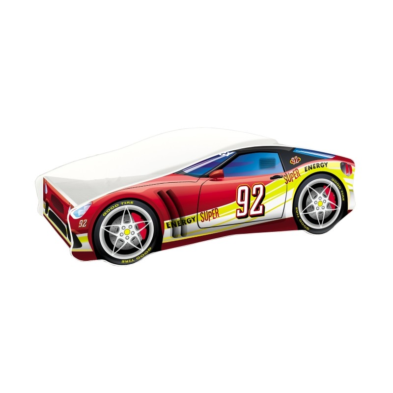 Pat copii Race Car MyKids, 140 x 70 cm, pal, maxim 90 kg, 3 ani+, Rosu 2021 shopu.ro