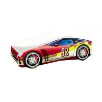 Pat copii Race Car MyKids, 160 x 80 cm, pal, maxim 90 kg, 3 ani+, Rosu/Galben
